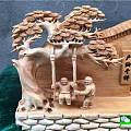 崖柏陈化料雕刻作品《童年的回忆》岁月匆匆