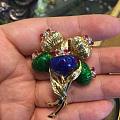 收获古董珐琅18k金胸针一枚